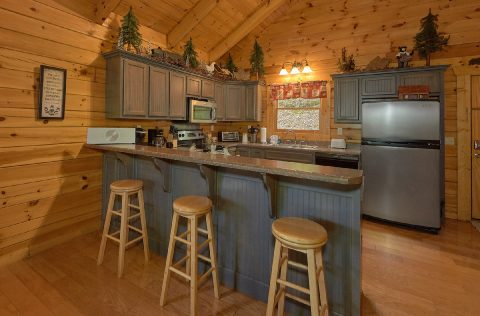 Premium cabin with bar seating in the kitchen - A Bear Affair
