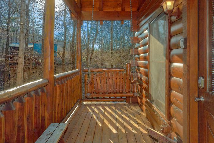 Cabin with Porch Swing - A Bear Encounter
