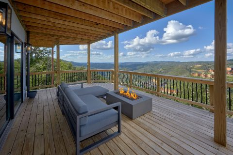 Luxurious fire pit at cabin with mountain views - A Castle in the Clouds