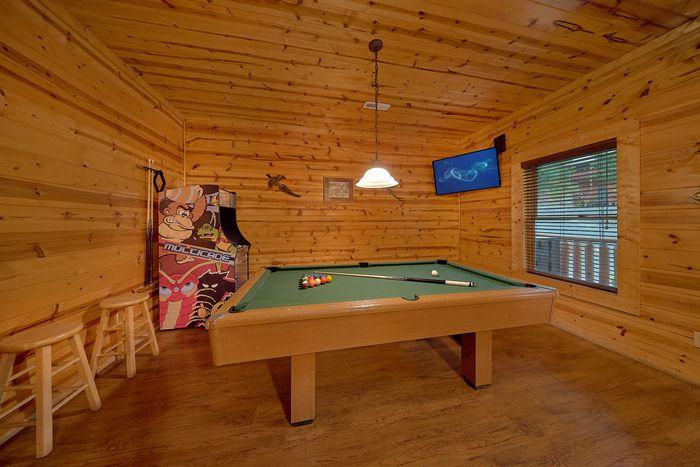 Pool Table in Cabin - A Mountain Lodge
