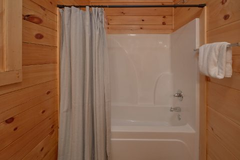 Shower and Tub in Master bathroom in cabin - A Mountain Palace
