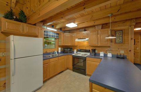 Fully stocked kitchen in cozy 2 bedroom cabin - A Peaceful Retreat