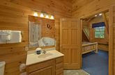 Private bathroom in King bedroom in cabin rental