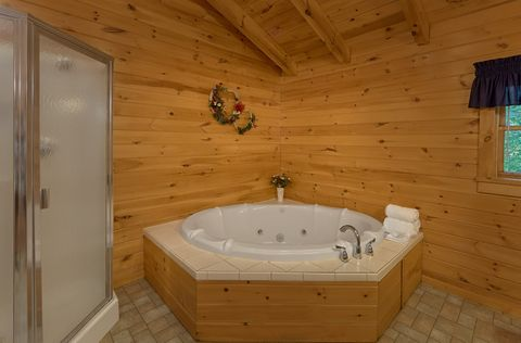 Private Jacuzzi Tub in bath at 2 bedroom cabin - A Peaceful Retreat