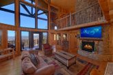 Spacious living room with Gas Fireplace and View
