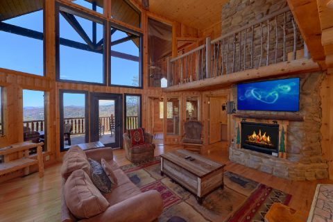 Spacious living room with Gas Fireplace and View - A Stunning View