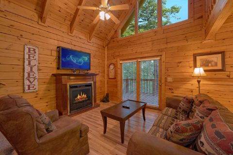 Cabin living room with Fireplace - A Twilight Hideaway