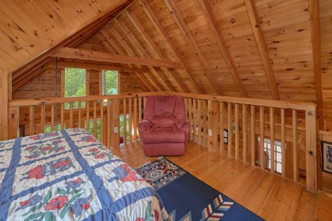 Loft Bedroom with Full Bed and Recliner - A Woodland Hideaway