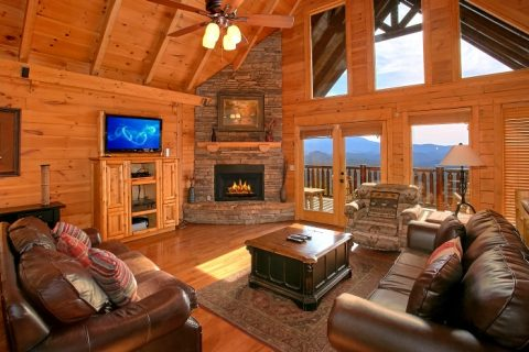 Luxurious Living Room with Fireplace and View - Above The Smokies