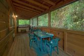2 bedroom cabin with covered deck and hot tub