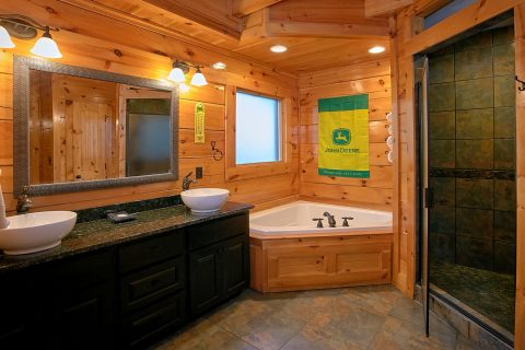 Luxurious Bathroom with Jacuzzi and Stone Shower - Alpine Mountain Lodge