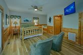 1 bedroom cabin King bedroom with sitting area