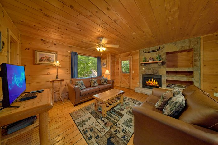 Cabin with Spacious Living Room and Fireplace - Bar None