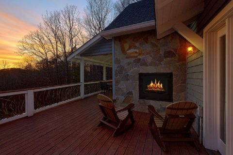 Outdoor See Through Fireplace - Bear Bottoms
