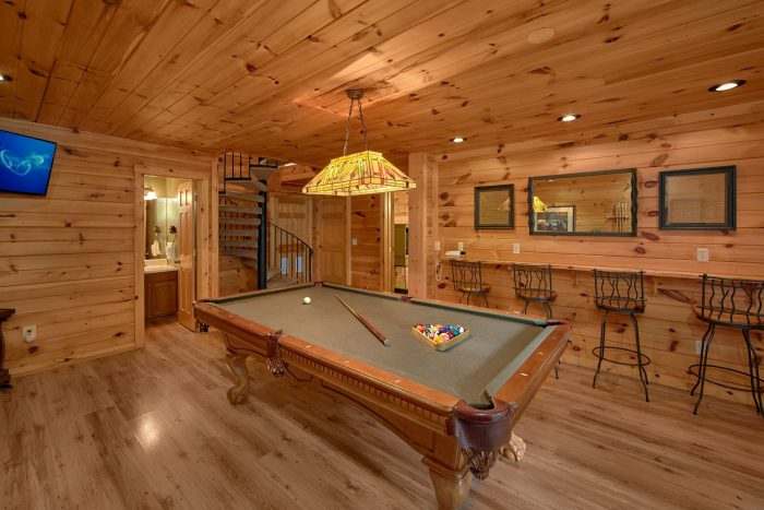 Pool Table in Game Room with Large Space - Bear Crossing