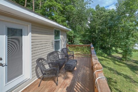 Deck with Table and Chairs - Bearfoot Bungalow
