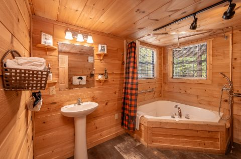 Main Level Bathroom with Jacuzzi and Shower - bearHAVEN