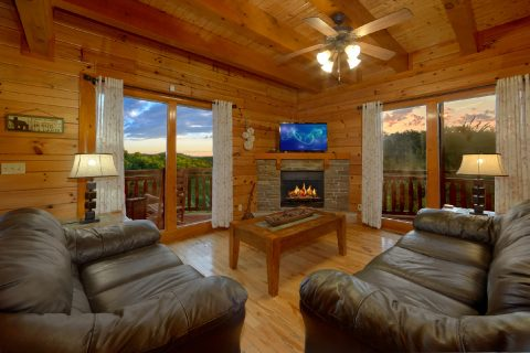 Living Room with Electric Fireplace Sleeps 8 - Best Little Pool House In The Smokies