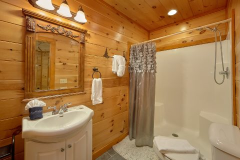 Full Bathroom with Shower Sleeps 8 - Best Little Pool House In The Smokies