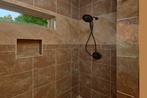 Luxurious shower in private Master Bathroom - Bluff Mountain Lodge