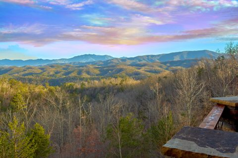 View of the Smoky Mountains from 6 bedroom cabin - Bluff Mountain Lodge