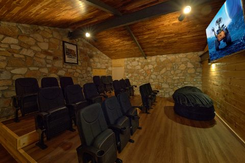 Private Theater Room in Luxury Cabin Rental - Bluff Mountain Lodge