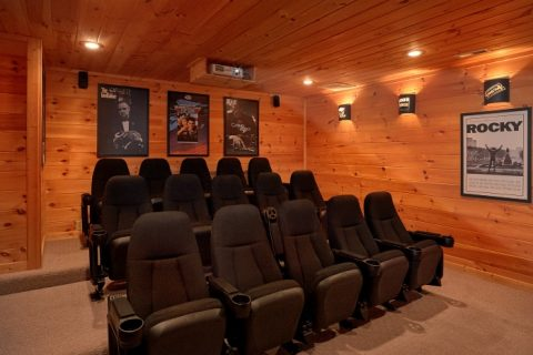 15 Seat Theater Room in Premium 5 Bedroom Cabin - Breathtaker