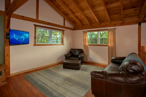 Sitting Area with Sofa Sleeper and Large TV - Campfire Lodge