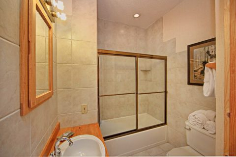 Private Bathroom with Shower and Tub - City View Chalet