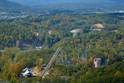 Views of Dollywood Coaster from Cabin Decks - Copper Ridge Lodge