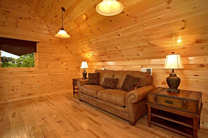 Couch in Loft of Cabin - Could Not Ask For More