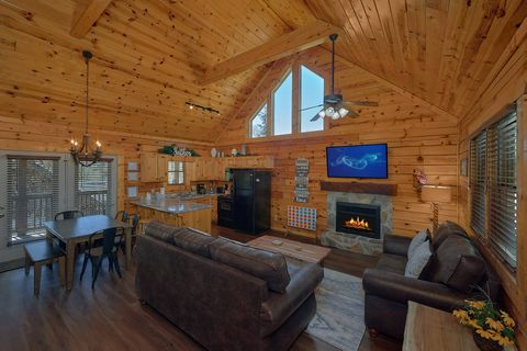 Pigeon Forge Cabin Living Area with Fireplace - Cozy Escape