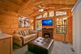 Cabin with fireplace and flat screen tv