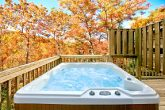 Cabin with hot tub with LED lighting