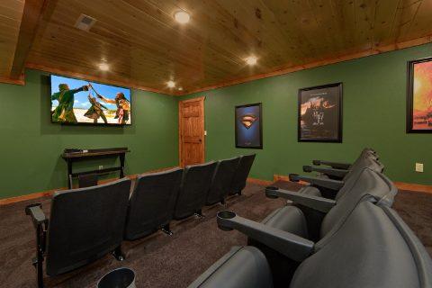 Theater Room 6 Bedroom Cabin Sleeps 14 - Family Fun Pool Lodge 2