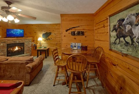 Game Room with pool table in 2 bedroom cabin - Fireside View