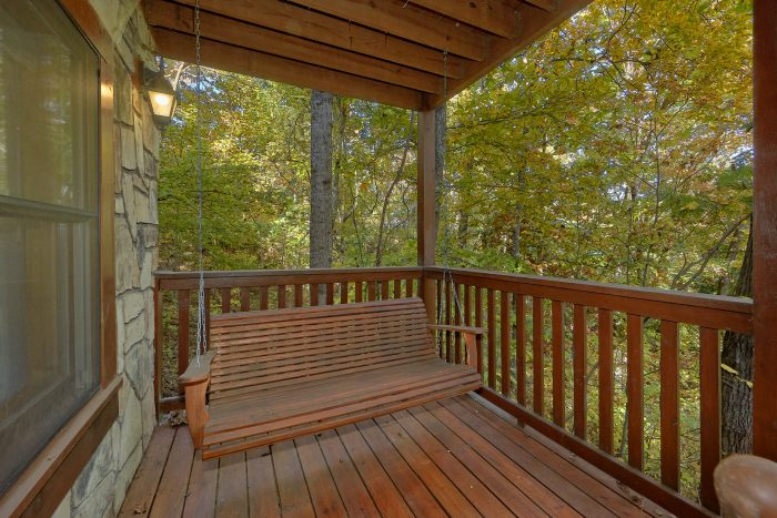 Swing on Back Deck Wooded View - Gray Fox Den