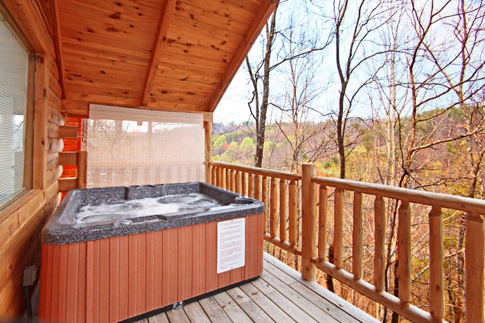 Relaxing Hot Tub in Smoky Mountain Cabin Rental - Hanky Panky