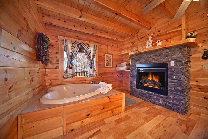 Romantic Heart Shaped Jacuzzi with Fireplace - Happily Ever After