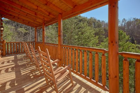 Rocking Chairs on Covered Deck 4 Bedroom Cabin - Heavenly Hideaway