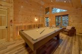 2 bedroom cabin with pool table in game room