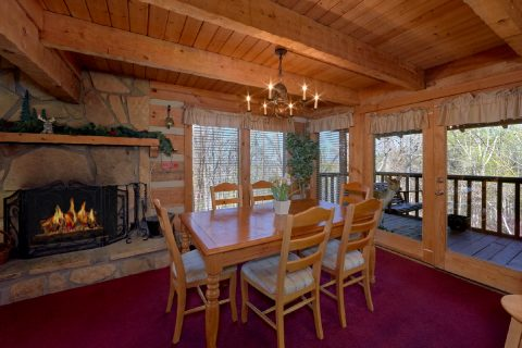 Cabin with a fireplace in Dining Room - Hillbilly Deluxe