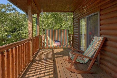 Deck with Swings and Mountain View at cabin - Hillbilly Hideaway