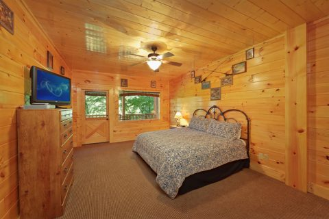 Spacious Bedrooms in a Pigeon Forge Cabin - Hook, Line and Sinker