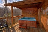 Private Hot Tub on back deck at Honeymoon Cabin