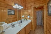 Master bathroom in 2 bedroom Gatlinburg cabin