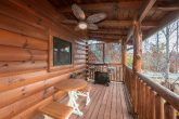 Cabin with grill, covered deck and fire pit