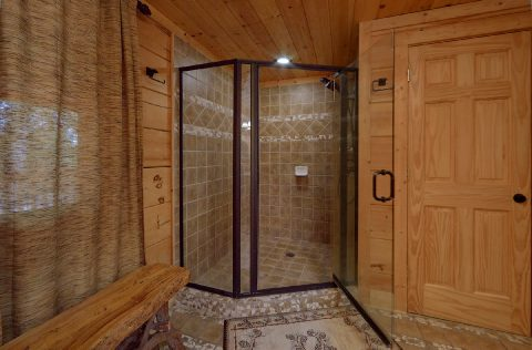Walk In Shower Main Floor Master Suite - KenKnight's Wilderness Lodge