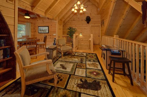 Open Loft Seating 6 Bedroom Cabin Sleeps 18 - KenKnight's Wilderness Lodge