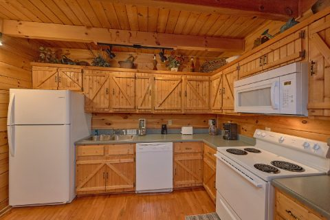 Open Kitchen Floor Plan 2 Bedroom Cabin - Lazy View Lodge
